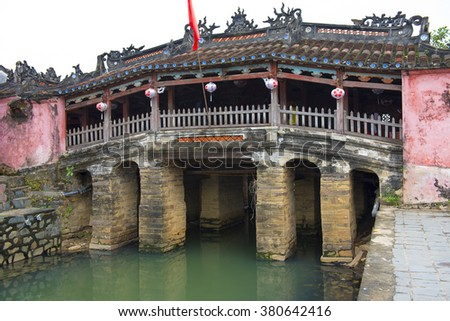 The Japanese Covered Bridge or Cau Chua Pagoda is a famous tourist attractions in Hoi An, Vietnam. It was built in the early seventeenth century. - stock photo