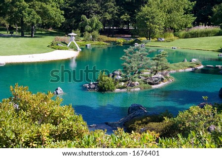 The Japanese Garden at the Montreal Botanical Gardens - stock photo