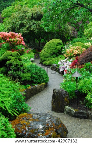 The japanese garden inside the historic butchart gardens (over 100 years in bloom), vancouver island, british columbia, canada - stock photo