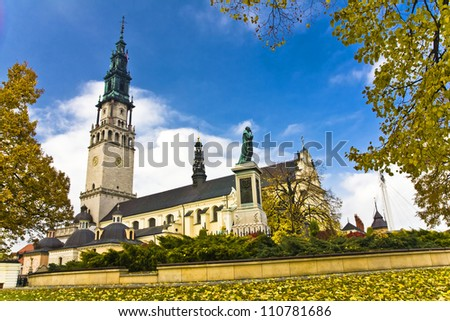 The Jasna Gora sanctuary in Czestochowa, Poland,  is the one of the most popular pilgrimary places in Poland - stock photo