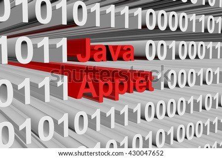 the java applet in the form of binary code, 3D illustration