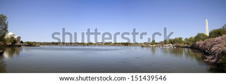 The Jefferson Memorial and Washington Memorial around the Tidal Basin - stock photo
