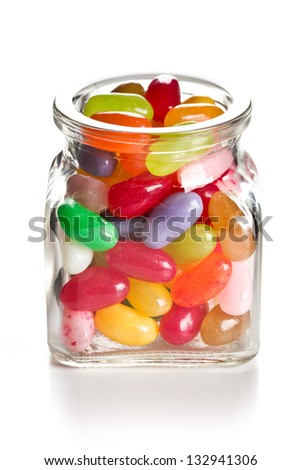 the jelly beans in glass jar - stock photo