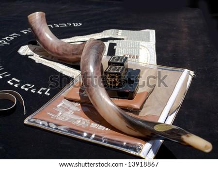 The Jewish religion.Tefilin and horn(shofar). - stock photo