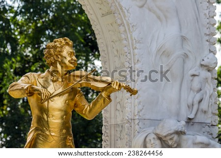 the johann strauss monument in vienna's city park. - stock photo