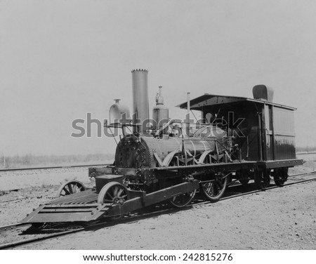 The John Bull locomotive was a is a British-built railroad steam engine that operated in the United States, from 1831 to 1866. - stock photo