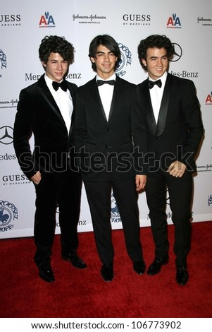 The Jonas Brothers  at the 30th Annual Carousel of Hope Ball to benefit the Barbara Davis Center for Childhood Diabetes, Beverly Hilton, Beverly Hills, CA. 10-25-08 - stock photo