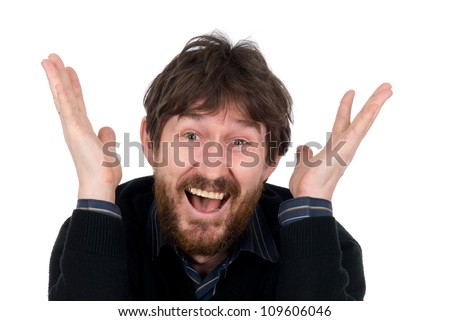 The joyful bearded man with lifted hands.Isolated on white background - stock photo