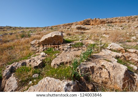 The Judean Mountains on the West Bank of the Jordan River - stock photo