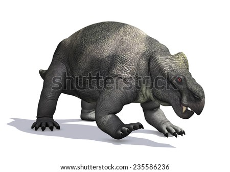 The Kannemeyeria was a prehistoric reptile that lived during the Triassic Period - 3D render. - stock photo