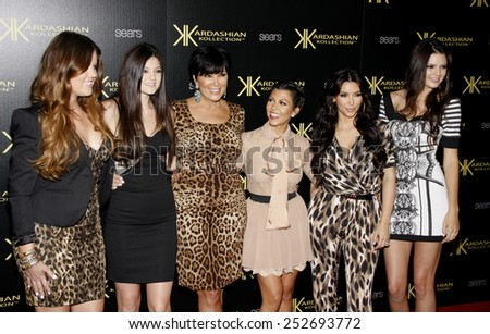 The Kardashians at the Kardashian Kollection Launch Party held at the Colony in Los Angeles, California, United States on August 17, 2011.  - stock photo