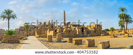 The Karnak Temple is one of the most impressive ancient landmarks in Egypt, Luxor. - stock photo
