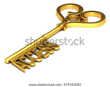 The key to access the inscription on a white background. 3D rendering