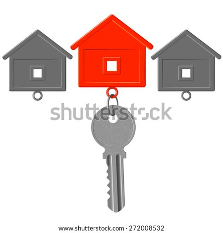 the key to the lock and key chain in the form of house - stock photo