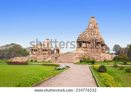 The Khajuraho Group of Monuments are a group of Hindu and Jain temples in Madhya Pradesh, India. - stock photo
