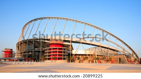 The Khalifa stadium at the Aspire Sports Academy complex in Doha, Qatar, Arabia. - stock photo
