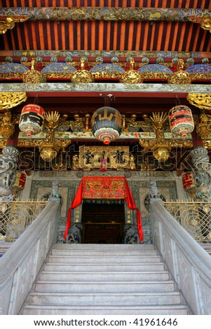 The Khoo Kongsi is a large Chinese clanhouse with elaborate and highly ornamented architecture, a mark of the dominant presence of the Chinese in Penang - stock photo