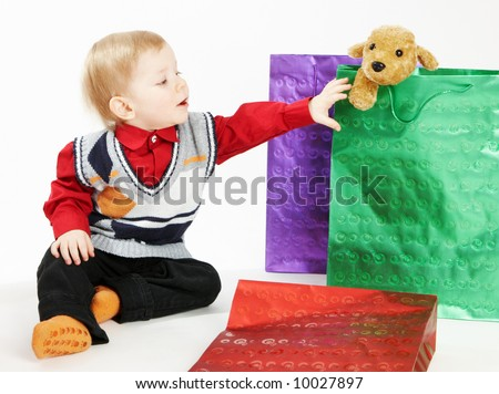 The kid gets a toy - stock photo