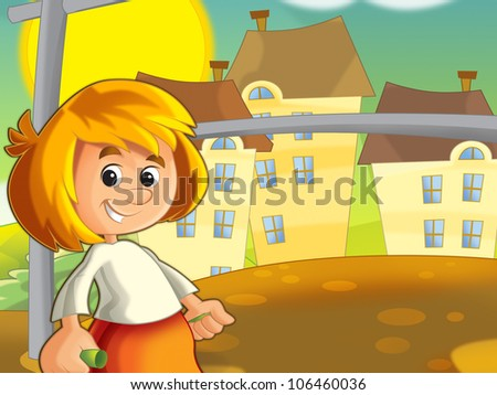 The kid having fan in the yard near the clothes horse - beater 4 - stock photo