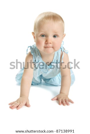 The kid in blue sundress on  white background