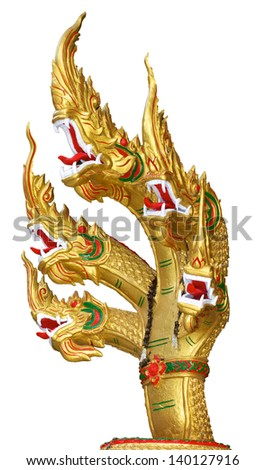 The king of nagas, 5 heads of naga king on isolated background