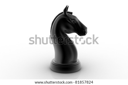 The knight chess piece on white background - stock photo