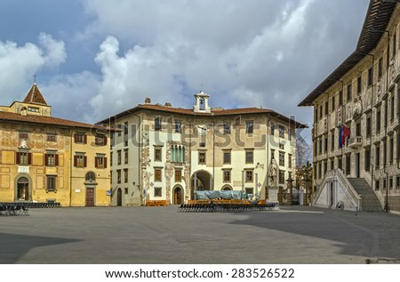 The Knights Square (Italian: Piazza dei Cavalieri) is a landmark in Pisa, Italy, and the second main square of the city. This square was the political centre in medieval Pisa. - stock photo