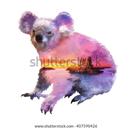 The koala on white background double exposure illustration. Retro design graphic element. This is illustration ideal for a mascot and tattoo or T-shirt graphic. Stock illustration