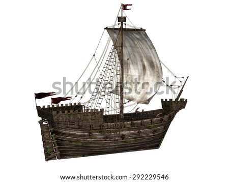 The Koggen - a sailing ship that was used during the middle ages - 3D render. - stock photo