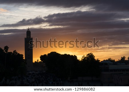 The Koutobia mosque in sunset, Marrakesh