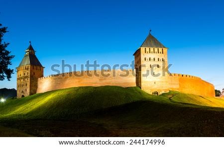 The Kremlin walls at night in Veliky Novgorod (Novgorod the Great), Russia - stock photo