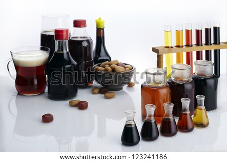 The laboratory glass container and liquid - stock photo