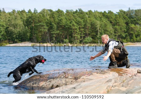 The Labrador retriever fetch a dummy for its owner - stock photo