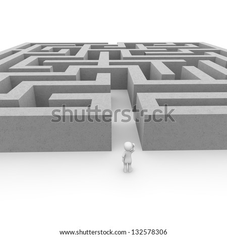 The labyrinth is a great challenge for all the courageous people! - stock photo