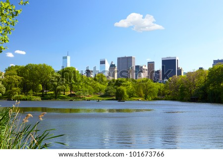 The Lake at Central Park in New York City - stock photo