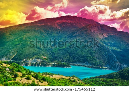 The Lake High Up in the French Alps, Sunset - stock photo