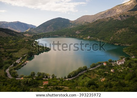 The lake in the shape of heart - Scanno (Abruzzo, Italy)