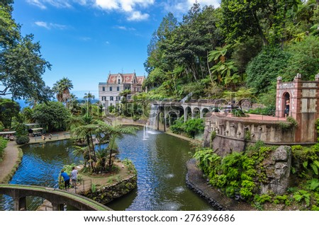 The lake Monte Palace Tropican Garden. Funchal, Madeira island, Portugal.  - stock photo