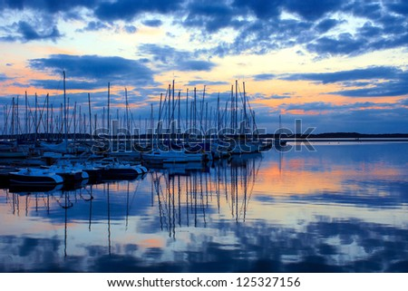 The lake of the Lac de Orient, France at sunset - stock photo