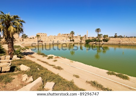 The lake served for ritual purposes and for the purification of the priests - stock photo
