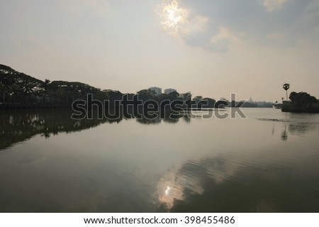 The lake view in a sunset - stock photo