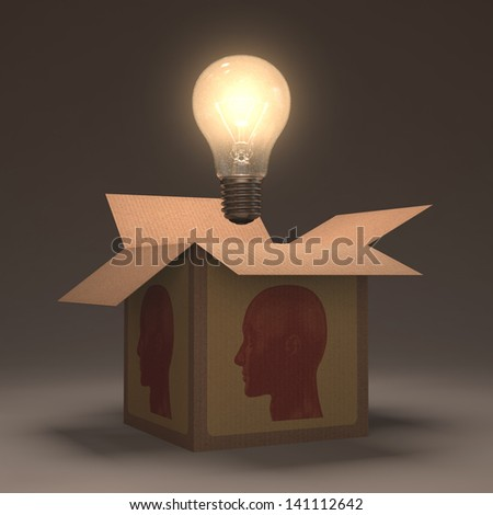 The lamp out of the box. Concept of open your mind. - stock photo