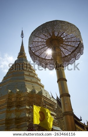 The landmark for tourist to visit in Northern Thailand. A golden pagoda is located on top of mountain where is a part of Buddhist temple.