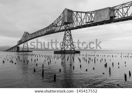 The landmark steel bridge in Astoria, Oregon - stock photo