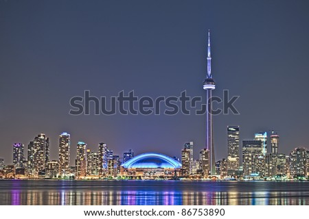 The landmark Toronto downtown view from the center island. - stock photo