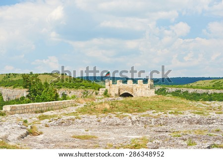 The landscape in Bulgaria at Provadia Ovech Fortress on the mountain - stock photo