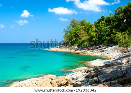 The landscape of Sea and Shore filmed in Thailand, Phuket  - stock photo