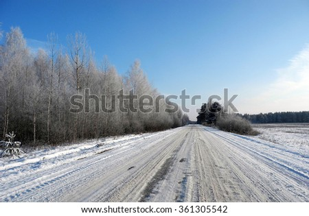 The landscape of snow-covered trees and rural road.