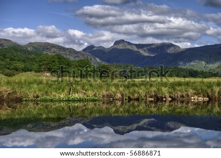 The Langdale Pikes reflected in river Brathay at Elterwater, the English Lake District - stock photo
