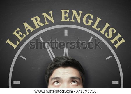 The language learning concept of Time To Learn English for English Education. - stock photo